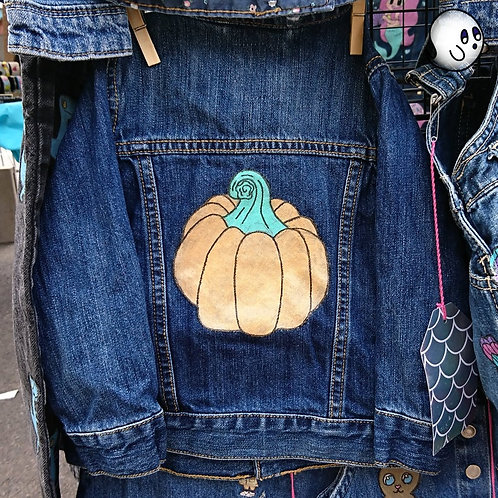 Pumpkin Hand Painted Denim Jacket - Infant 18 to 24 Month