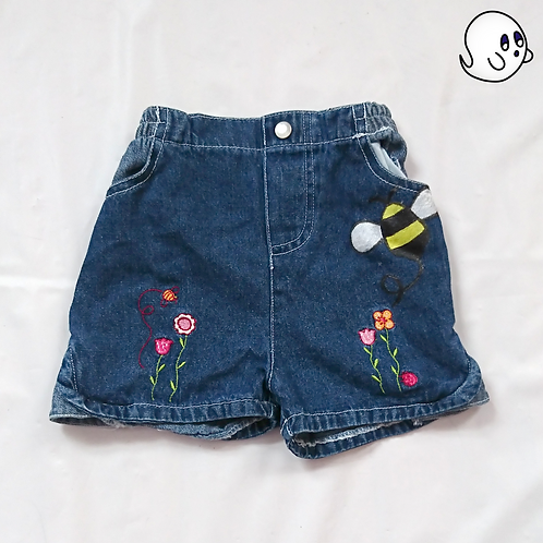 Bee Hand Painted Denim Shorts - Infant 9 Month