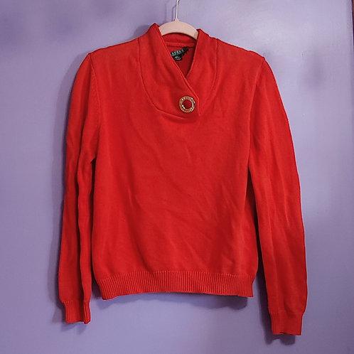 Orange Ralph Lauren Cotton Knit Sweater - Large