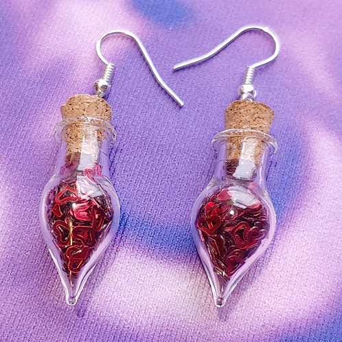 Red Hearts Love Potion Dangle Earring