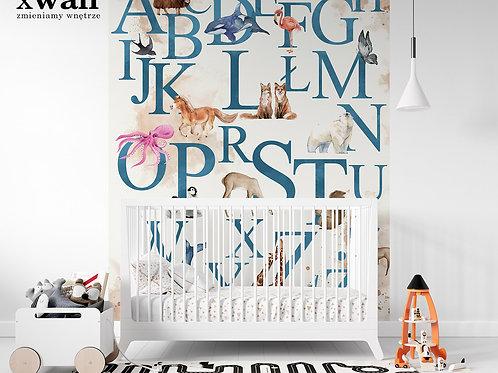 akwarelowy alfabet ze zwierzetami _blue