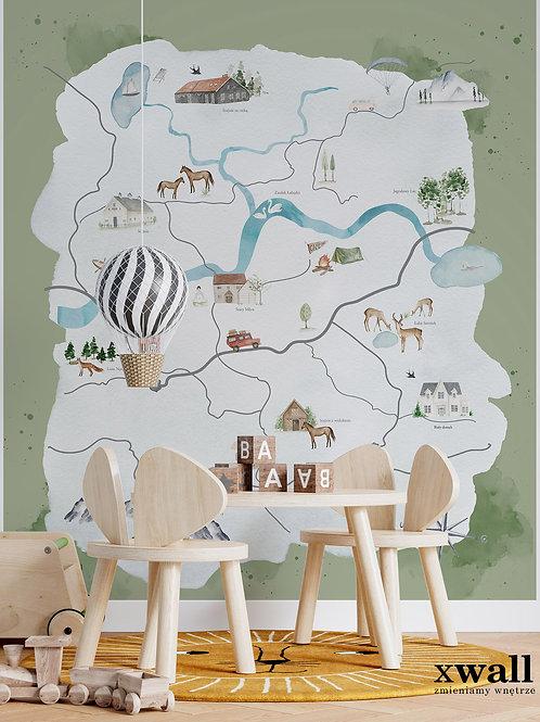 akwarelowa mapa sielskiej doliny GREEN