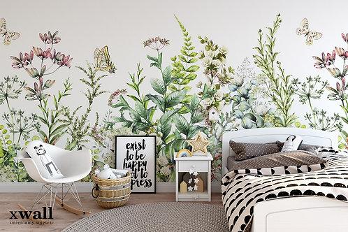 kwiaty, tapeta, łaka, vintage,
