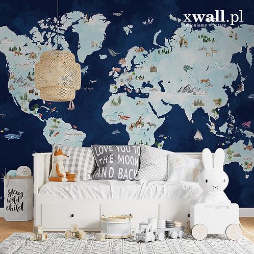 Mapa świata / granatowa