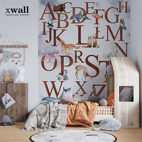 akwarelowy alfabet ze zwierzetami _brown