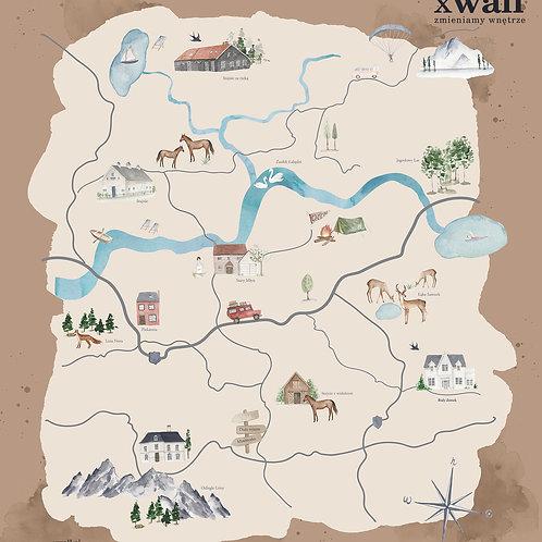 akwarelowa mapa sielskiej doliny BROWN