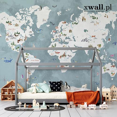 mapa świata / niebieska