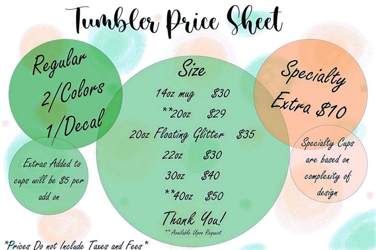 2021 Tumbler Price Sheet
