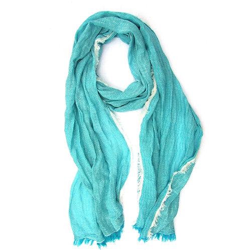 Turkish Cotton Blend Fringed Hobo Scarf Blue
