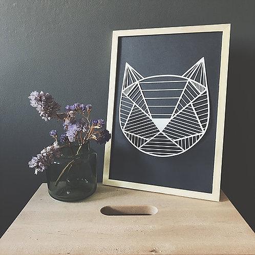 Papercutting template - Geometric cat