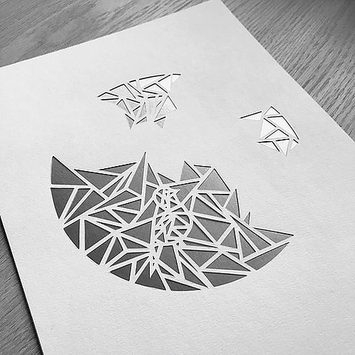 Papercutting template - Geometric bird