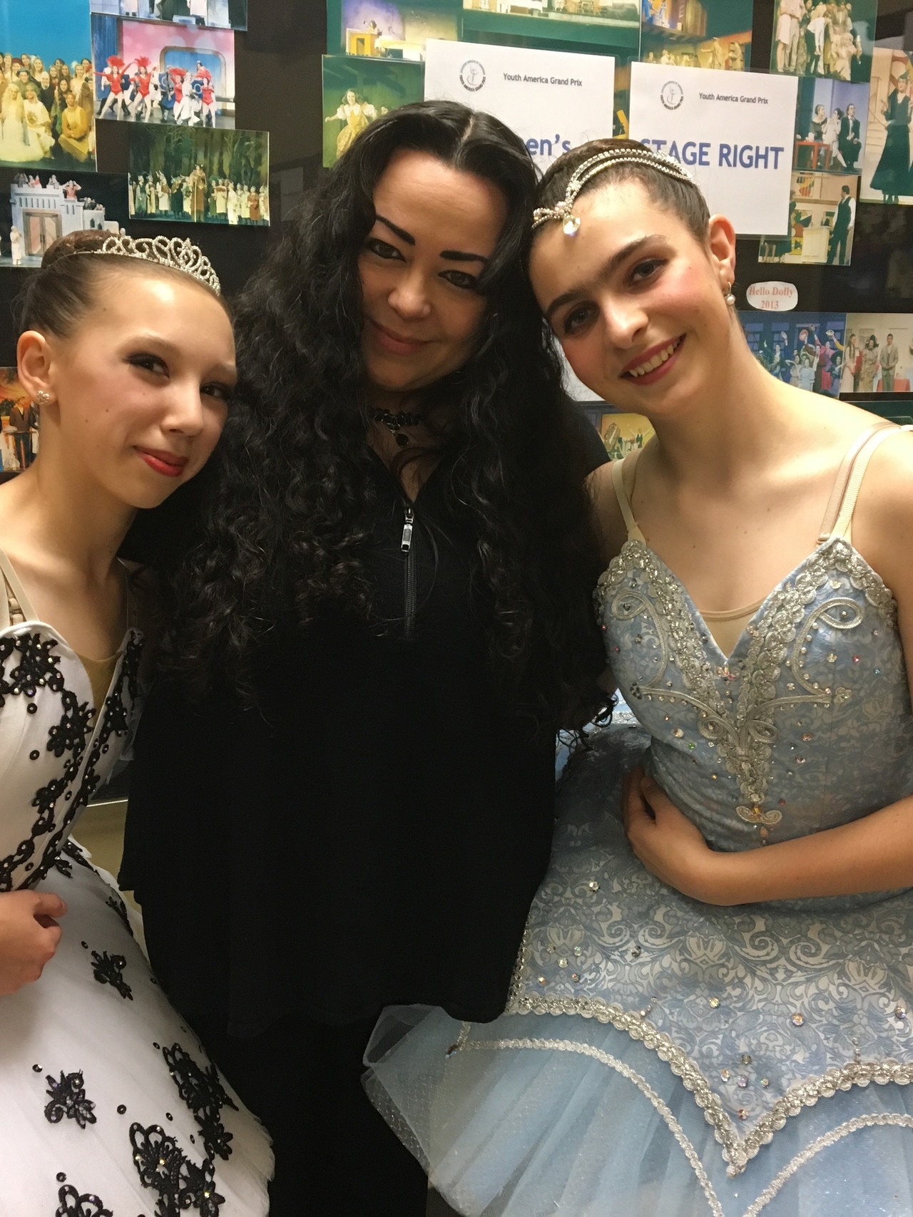 Diane, Ms Vera and Isabelle backstage before competition.