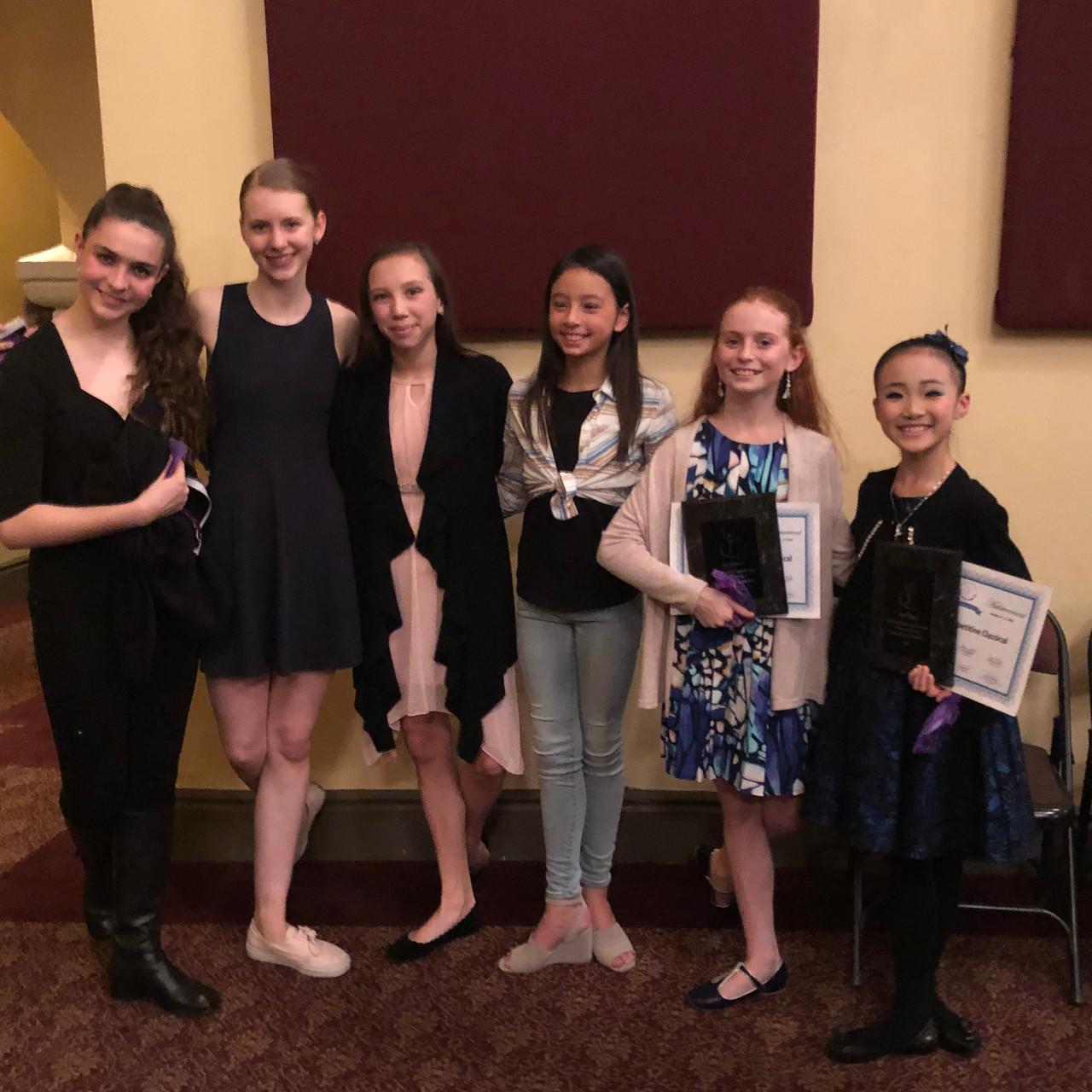 Dancers gather after awards.