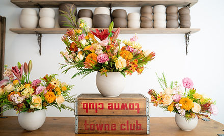 Flower delivery. A flower shop in San Francisco arranges beautiful ecofriendly flowers