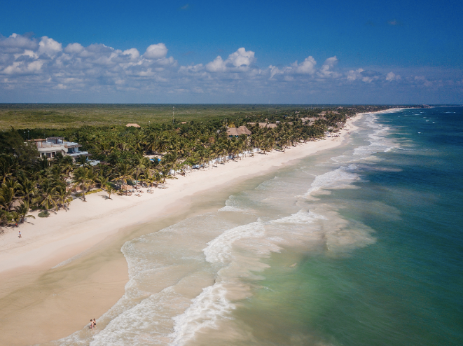 Aerial view of the Tulum beach during the day