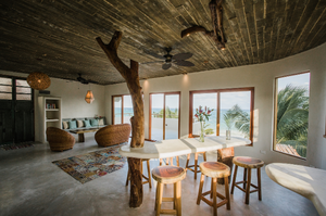 Inside kitchen area of a Zobra property with a view of the ocean.