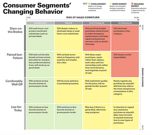 A Chart indicating Consumer Segments' Changing Behavior