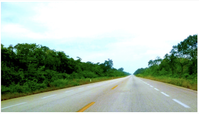 The long road from Tulum to Bacalar, Mexico