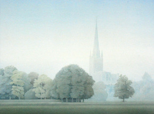 Norwich Cathedral across the playing field