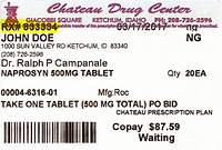 Chateau Drug Example Label -Rx Number