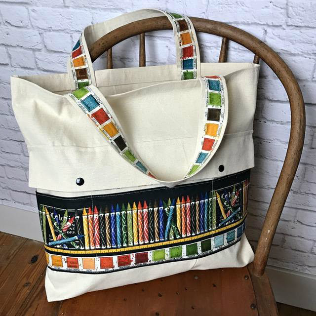 Coloring Tote with Colored Pencil Pockets