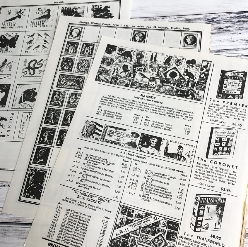 Vintage Stamp Book Pages