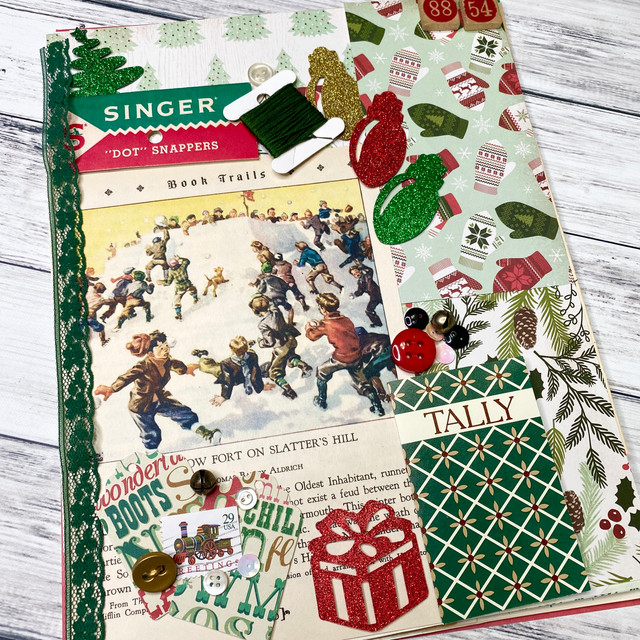 Vintage lace Christmas junk journal with Gold Stars
