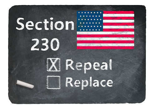 Concept of blackboard and chalk asking if Section 230 on internet companies should be repe