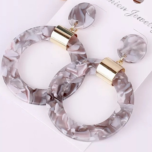 Sasha Earrings (Marble Grey)