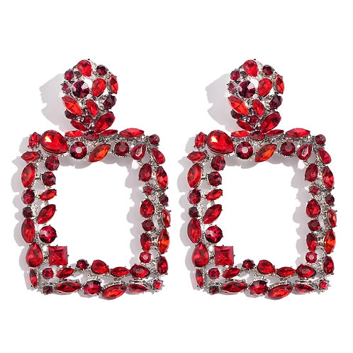 Bling Life Earrings (Red and Silver)