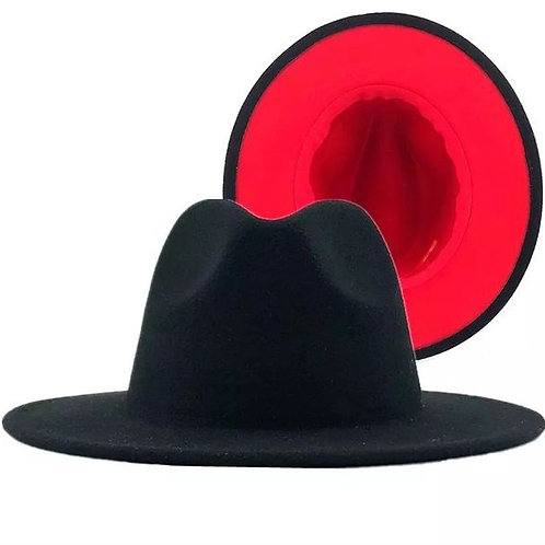 Tahiri Fedora - Black with Red Bottom