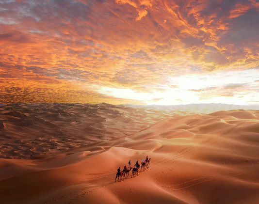 A group of people riding camels on a des