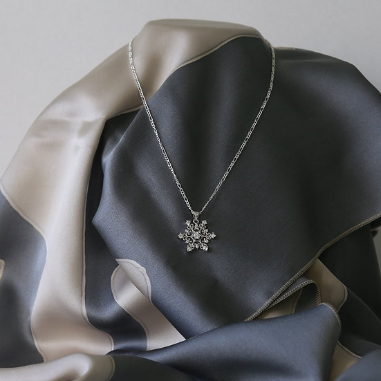 Silver Snowflake Pendant and Chain