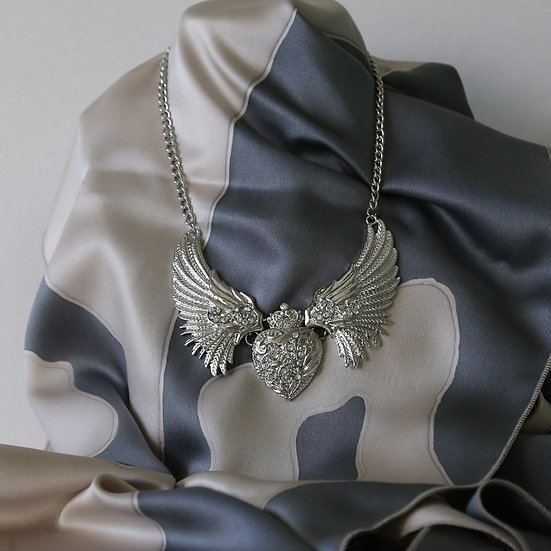 Angel Wings and Crowned Heart Necklace