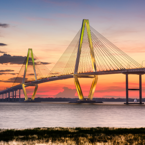 Be sure to take a stroll on the Ravenel Bridge for a great sweat and even better views!