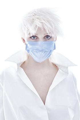 Blue Shantung Mask