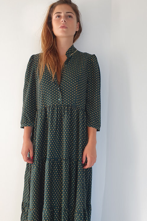 Robe Longue Verte Imprimé Mouche Jaune Verte Holly &  Joey