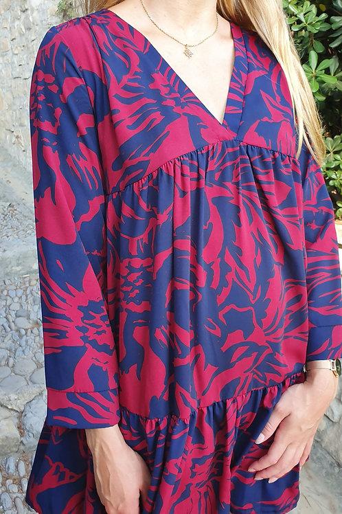 Robe Courte Imprimé Bash Bordeau Bleu Vintage Love