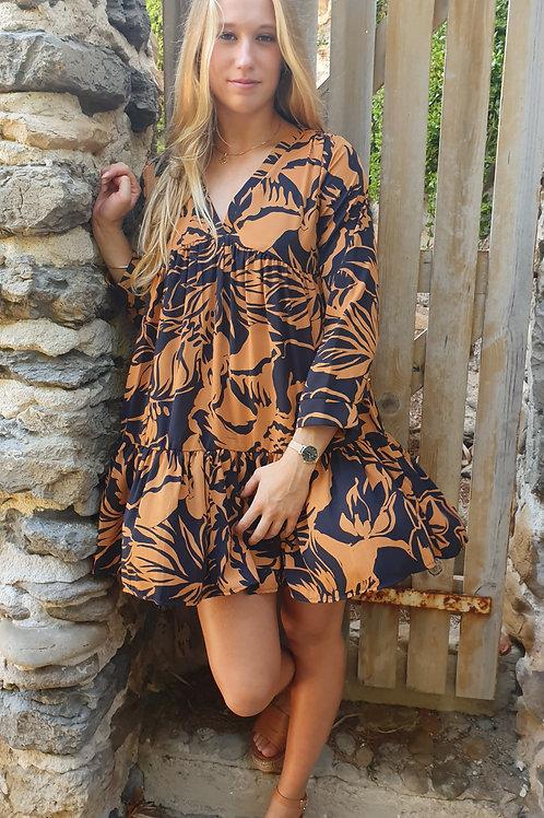 Robe Courte Imprimé Bash Camel Vintage Love