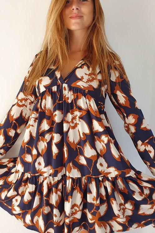 Robe Courte Imprimé Dalida Bleu Vintage Love