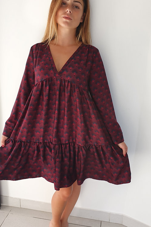 Robe Courte Imprimé Paon Bordeau Vintage Love