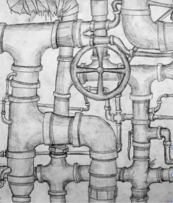 PIPE DRAWINGS     pencil on paper 7+  MONDAY 12 APRIL AM