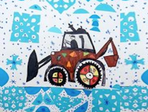 SNOW MACHINERY mixed media canvas  WED-07 JULY : AM