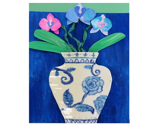 BLUE MING VASE   mixed media canvas     THURS 1 OCT
