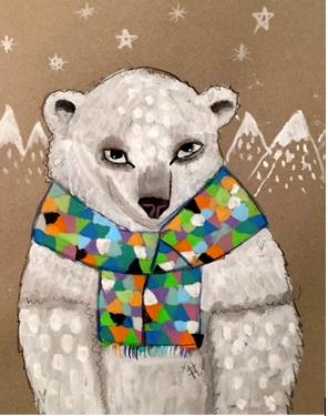 CUTE POLAR BEAR  acrylic on canvas  MON-05 JULY : PM