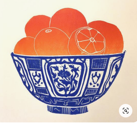 ORANGES IN A BOWL   print on canvas   7+    WEDNES 14 APRIL PM