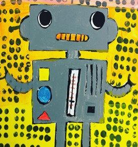 CLEVER ROBOTS      mixed media canvas   MONDAY 12 APRIL PM