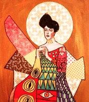 G. KLIMT WOMAN  mixed media canvas THURS-8 JULY : AM
