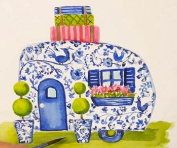 CUTE CARAVANS   watercolour on paper    TUESDAY 06 APRIL PM