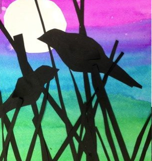 SILHOUETTE ANIMAL  mixed media canvas   THURSDAY 15 APRIL AM